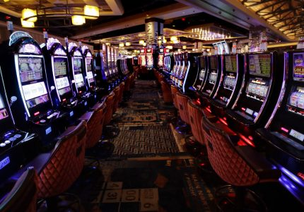 This Wednesday, Aug. 15, 2018, photo shows slot machines on the main floor during a preview tour at the MGM Springfield casino in Springfield, Mass. The casino is scheduled to open to the public on Aug. 24. (AP Photo/Charles Krupa)
